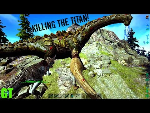 Killing a TITANOSAUR - Turrets and Gigas - ARK: Survival Evolved