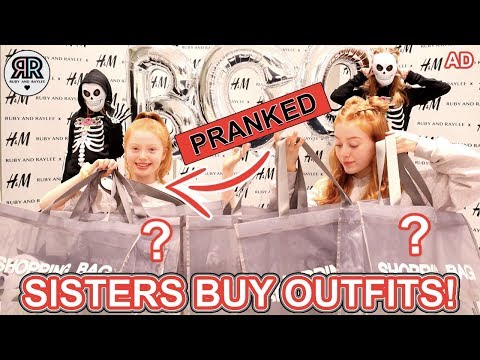 SHOPPING CHALLENGE *PRANKS *Sisters Buy Each Other Halloween Outfits | Sis vs Sis | Ruby and Raylee