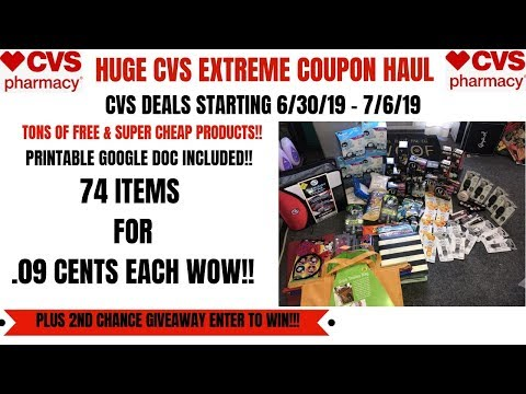 HUGE CVS EXTREME COUPON HAUL DEALS STARTING 6/30/19~74 ITEMS ONLY .09 CENTS EACH~WOW LOTS OF FREE!!