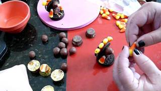 How To Make A Turkey Using Cookies / Candy Thanksgiving Chocolate Fondant.