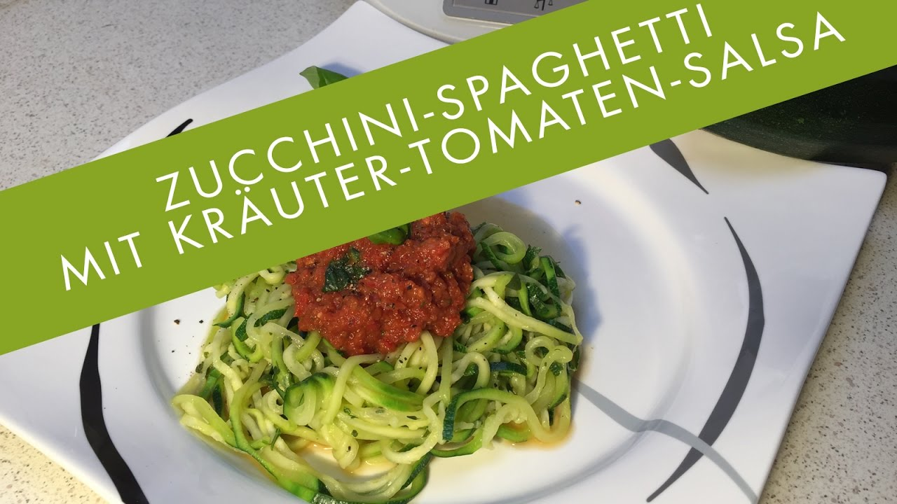 thermomix tm5 zucchini spaghetti mit kr uter tomaten salsa vegan low carb youtube. Black Bedroom Furniture Sets. Home Design Ideas