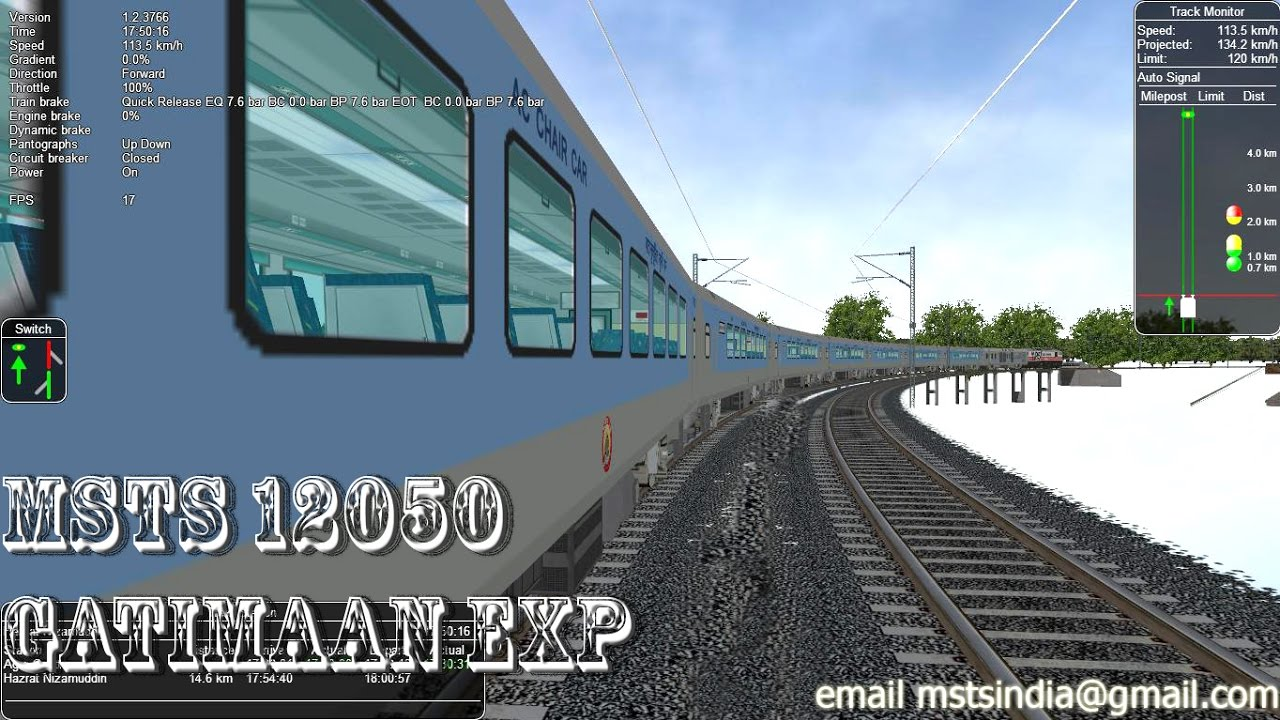 MSTS Indian Railways Fastest High Speed Gatimaan express at 200 kmph #1