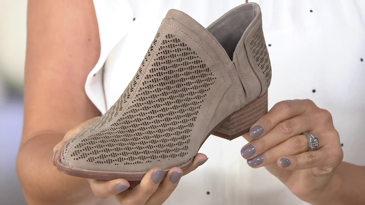 c6aceef62b2f Vince Camuto Perforated Suede Booties - Clorieea on QVC - YouTube