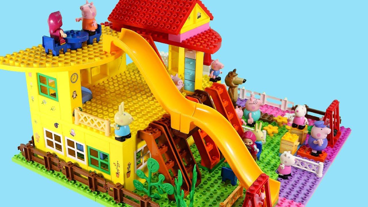 Toys For Legos : Peppa pig blocks mega house lego creations sets with masha
