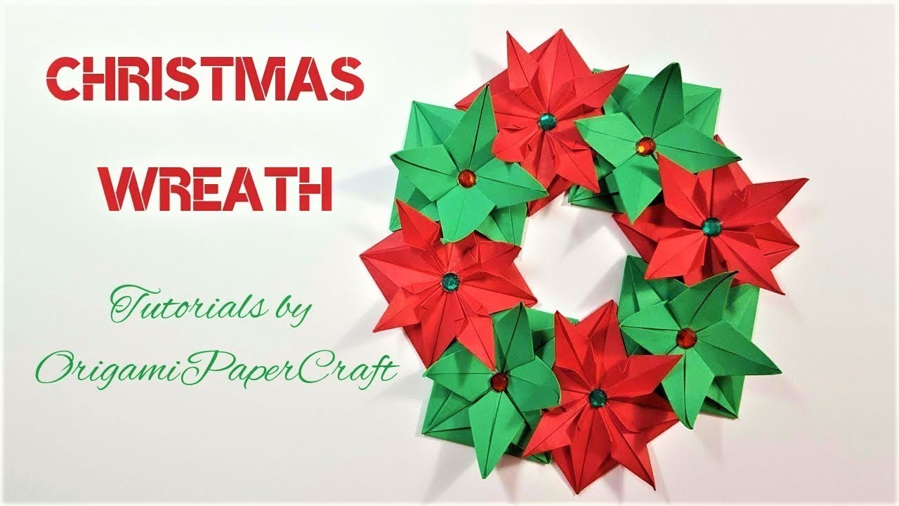 Origami christmas wreath origamipapercraft tutorial for origami christmas wreath origamipapercraft tutorial for beginners mightylinksfo