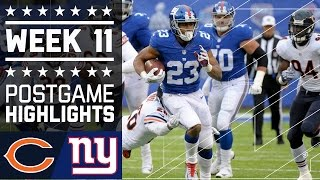 Bears vs. Giants | NFL Week 11 Game Highlights