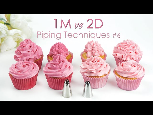 1M vs 2D - Comparing Piping Tips - Cupcake Piping Tip Techniques Tutorial