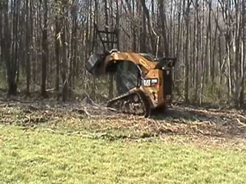 Forestry Mulcher On A Cat Skid Steer Clearing Our Property Youtube