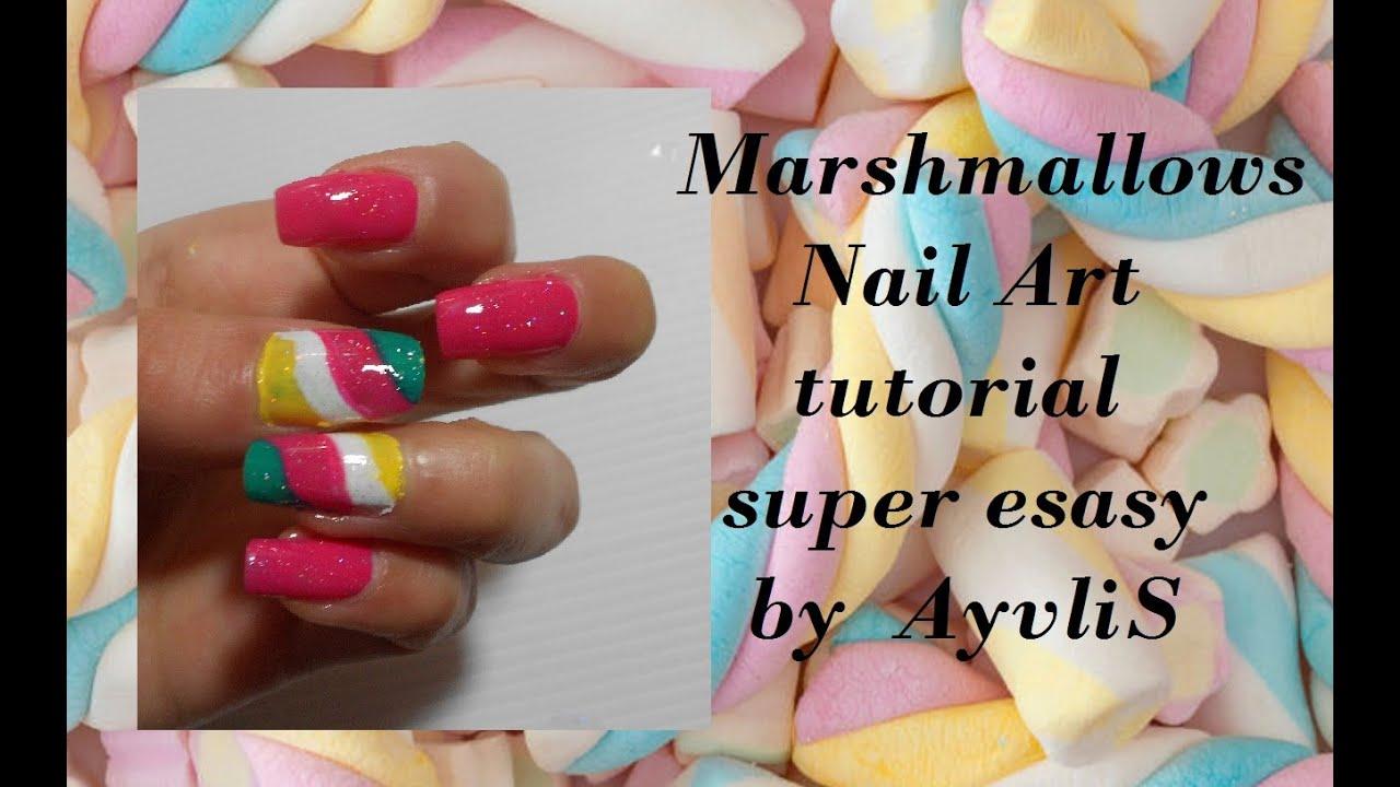 nail art primavera estate marshmallows super facile e veloce anche