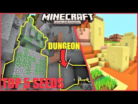 Minecraft PE - TOP 5 SEEDS For 2019 #3 ! JUNGLE TEMPLE AND DUNGEON IN RAVINE & MORE  !| MCPE 1.9