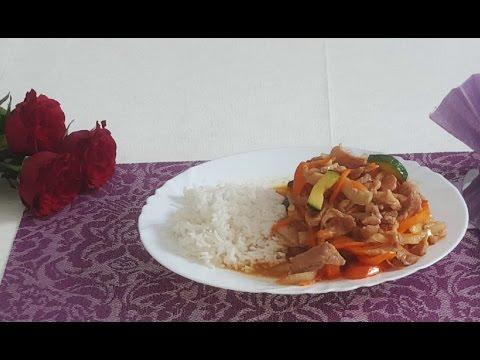Свинина с овощами покитайски