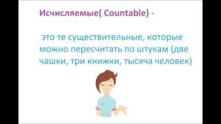 Видеоурок. Английский для детей.Урок 18.Существительное.Исчисляемые и неисчисляемые существительные.