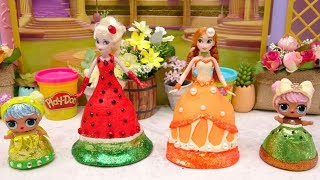 Play Doh DIY Frozen L.O. L Disney Princess Elsa and Anna Dress Up Learn How To Makeover Fruits Dress