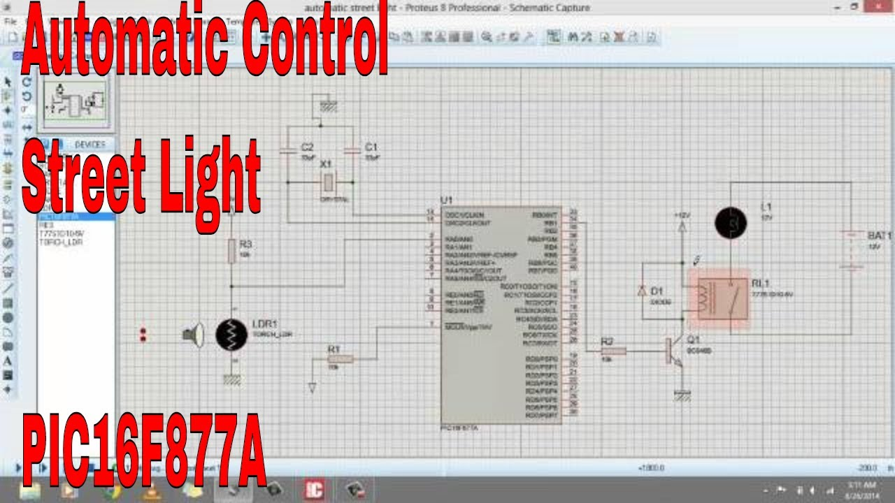 Automatic control of street lights using microcontroller - YouTube