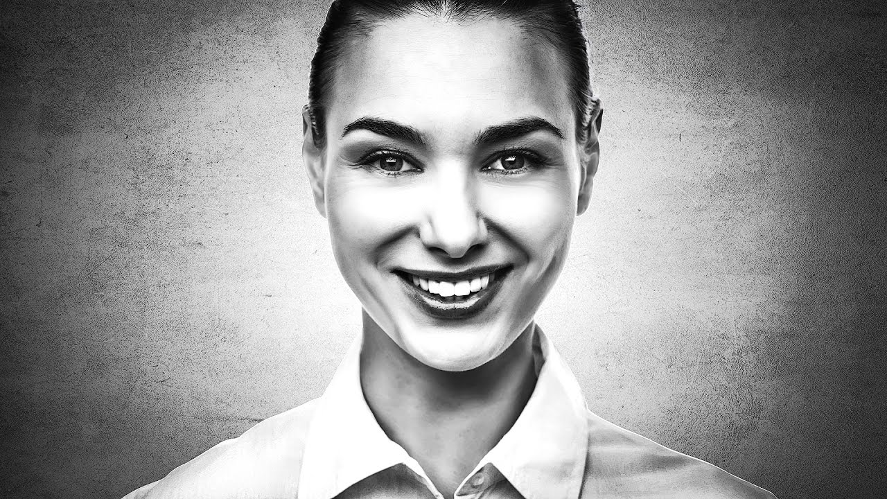 High contrast black and white portrait photoshop tutorial dramatic photo effects
