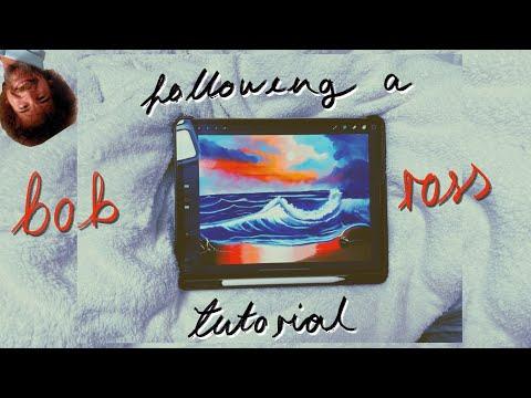 following a bob ross painting tutorial on procreate *ipad digital drawing*