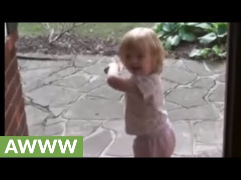 Watch this baby girl preciously greet her daddy home from work