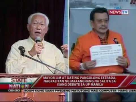 SONA: Erap at Manila Mayor Lim, nagkasagutan sa isang debate