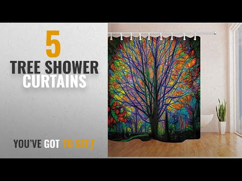 Top 10 Tree Shower Curtains [2018]: NYMB Creative Trees Decoration Bath Curtain, Colorful Watercolor