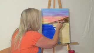 "Free Painting Lesson: ""how To"" Guided Acrylic Painting For Beginners (techniques-skies & Oceans #2)"