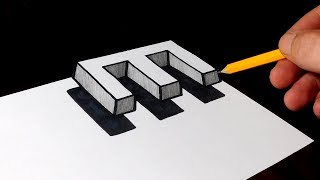 How to Draw 3D Floating Letter E - Easy Trick Art for Kids