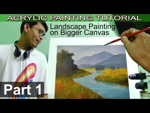 Acrylic Landscape Painting Tutorial on Bigger Canvas | Basic Blocking In | Part 1 by JMLisondra