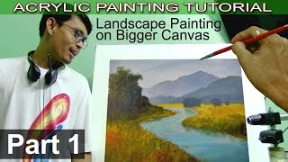 Acrylic Landscape Painting Tutorial on Bigger Canvas | Basic Blocking In | Part 1 by JMLisondra