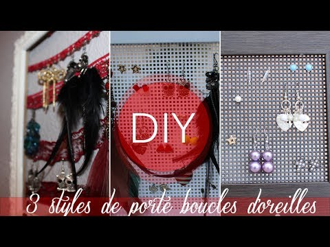 diy 3 styles de porte boucles d 39 oreilles youtube. Black Bedroom Furniture Sets. Home Design Ideas