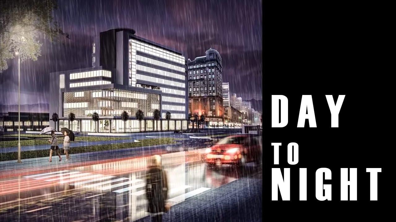 [Night Scene] Photoshop architecture rendering tutorial