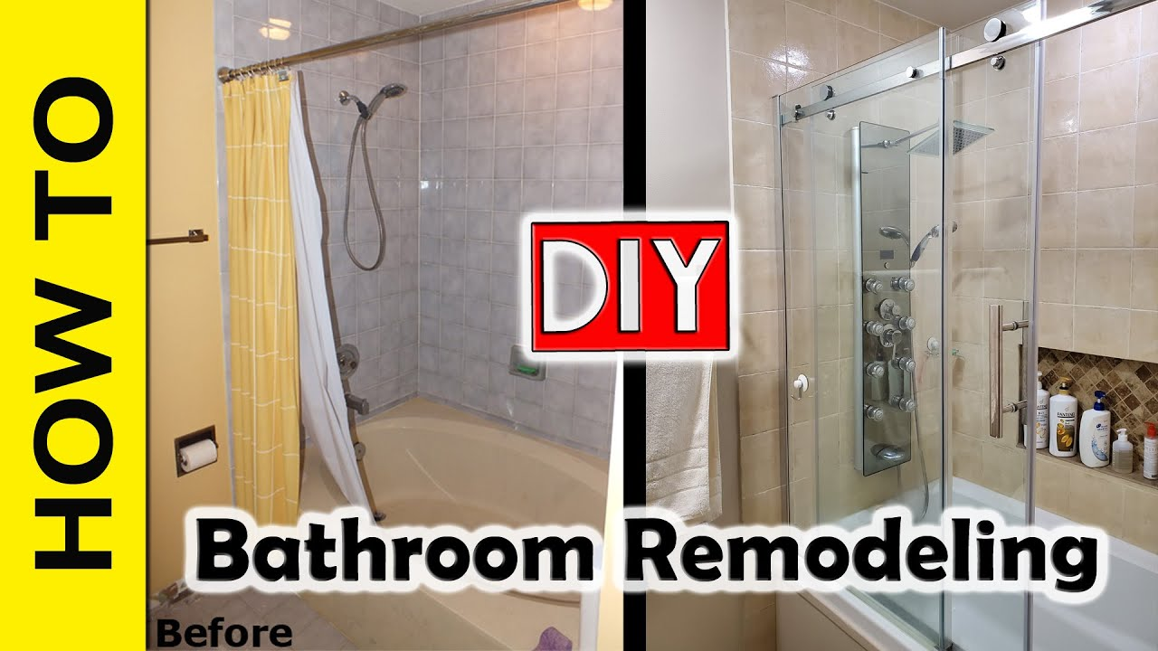 Step By Step Bathroom Remodel Stepstep Diy Bathroom Remodeling Project  Youtube