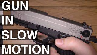 ISSC M22 9mm P.A.K. in Zeitlupe Blank gun slowmotion