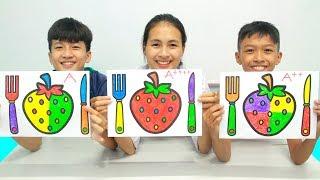 Strawberry and Cutlery Set Warna Warni Belajar Menggambar dan Mewarnai untuk Anak