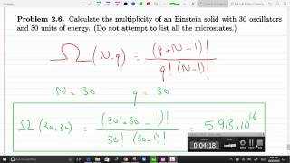 Calculate The Multiplicity Of An Einstein Solid With 30 Oscillators And 30 Units Of Energy P 2-6