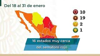 En la actualización del semáforo epidemiológico, el director de Promoción de la Salud, Ricardo Cortés señaló que 16 de los 19 estados que se encuentran en semáforo naranja están muy cerca del rojo