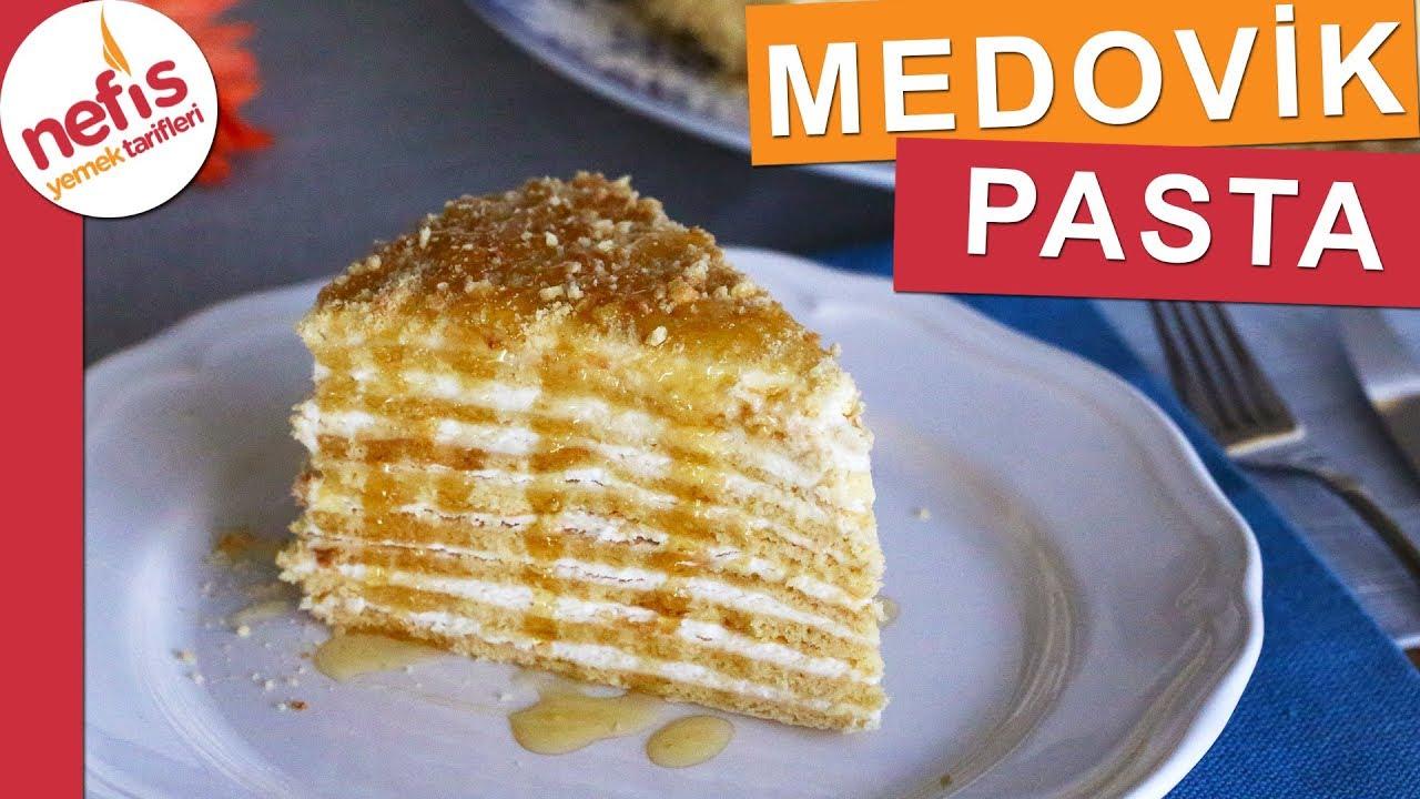 Balli Medovik Pasta Tarifi Videolu Nefis Yemek Tarifleri Yemek Tarifleri Yemek Yiyecek Ve Icecek