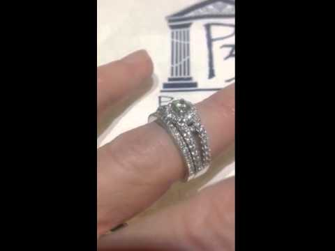 1 Carat Diamond Vintage Halo Split Shank Engagement Ring Matching