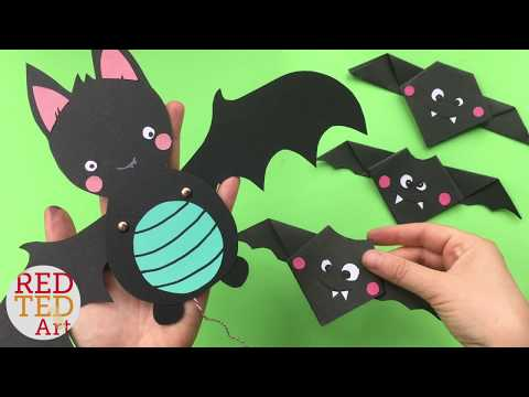 Easy Bat Paper Puppets - Cute Halloween Decor DIY - Fun Paper Crafts