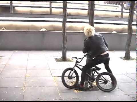 BMX Jump from Brick Wall to Rail Slide Fail - Sean Burns