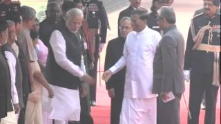 pm modi with sri lankan president maithripala sirisena at ceremonial reception rashtrapati bhavan
