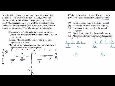Mixed setup | New info: could be true example | Analytical Reasoning | LSAT | Khan Academy
