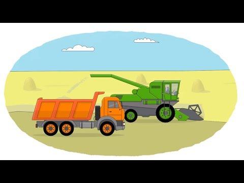 Мультик - Раскраска. Учим Цвета - Сельскохозяйственная техника -  Сеялка, поливальная установка, комбайн