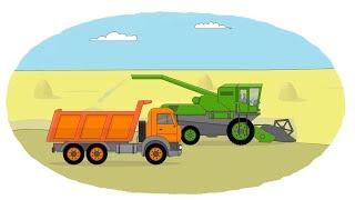 Мультик - Раскраска. Учим Цвета - Сельскохозяйственная техника -  Сеялка, поливальная установка, комбайн(Развивающие мультики