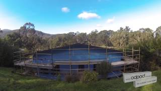 Odpod Shipping Container House update drone fly-over
