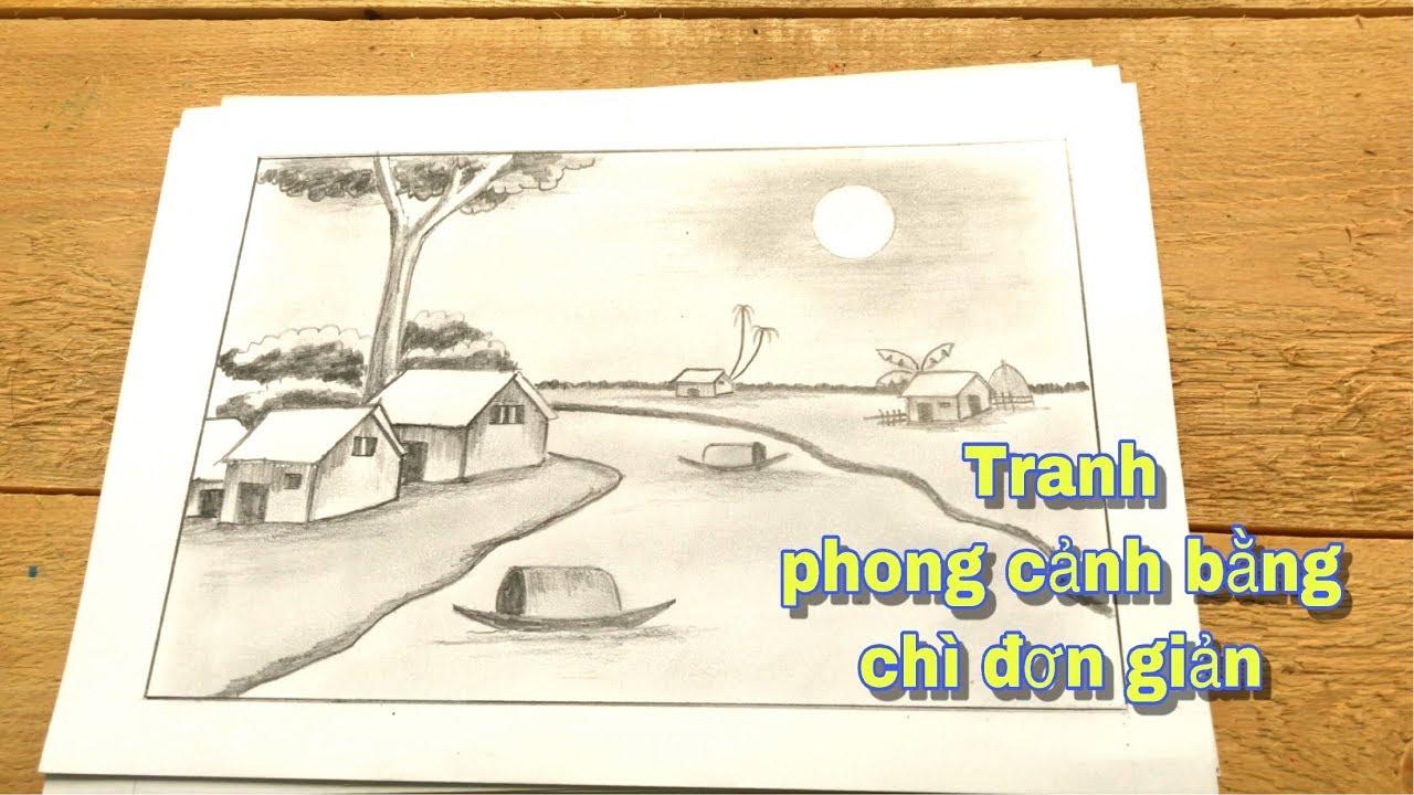 Vẽ tranh phong cảnh bằng bút chì   How to draw landscape with pencil