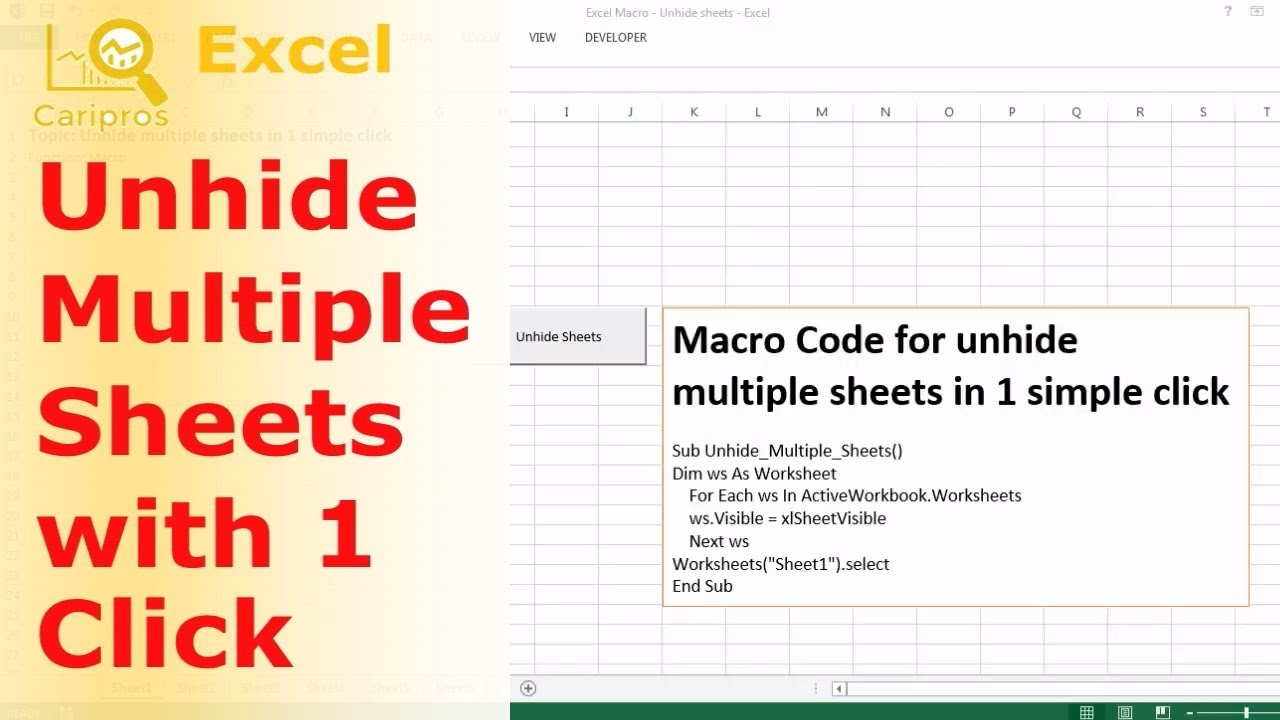 How To Unhide Multiple Sheets With One Click Excel Macro Youtube
