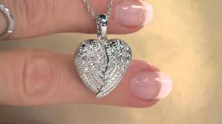 Angel Wing Heart Diamond Locket, Sterling, 1/5ct by Affinity with Mary Beth Roe