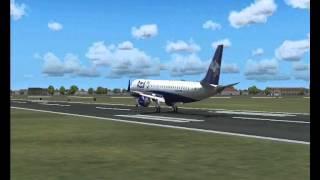 Pouso Wilco E-jets Embraer 195 azul em Curitiba Afonso Pena (SBCT) FS2004