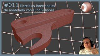 Ejercicio Intermedio #011 de modelado utilizando subdivisiones con Blender 2.82a