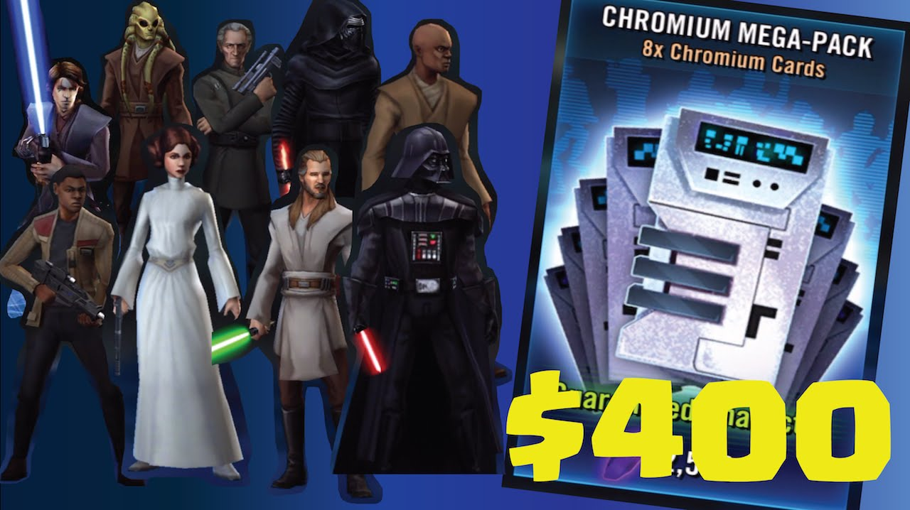 STAR WARS Galaxy of Heroes $400 Chromium MEGA-PACK Opening! (No Hack/Cheat)  iOS, Android