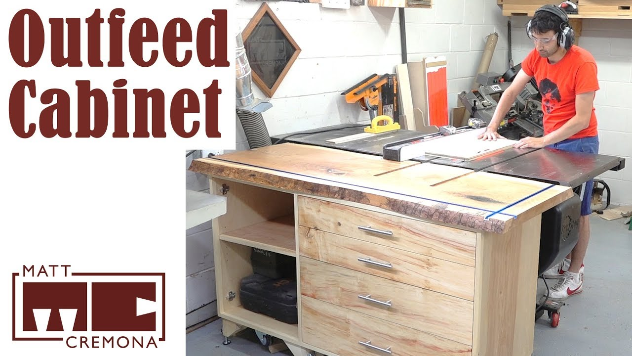Live Edge Slab Top Outfeed Table Cabinet
